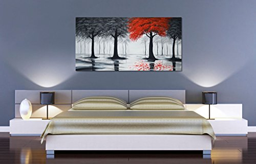 Hand Painted Landscape Oil Painting (Everfun Art Hand Painted Landscape Oil Painting On Canvas Modern Contemporary Black and Red Forest Wall Art Stretched Abstract Tree Artwork for Living Room Bedroom Framed Ready to Hang ( 56 x 28 inch))