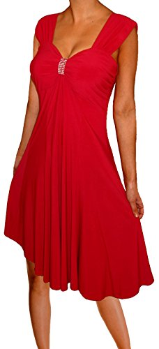 Funfash HC1 Plus Size Women Slimming Empire Waist Red Cocktail Cruise Dress 1x, Red With Rhinestone Accent