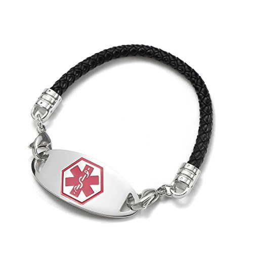 BBX JEWELRY Black Leather Medical Alert Bracelets with Interchangeable Red Medical ID Tag for Women