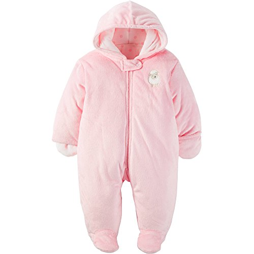 Child of Mine by Carters Baby Pram Faux Fur Boy and Girls Sizes (0-3 Month, Girl Pink Lamb)