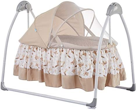 WUPYI2018 Baby Crib Electric Crib with Mosquito Net Built-in MP3 Music Player Suitable for Babies Under 18 Months Three Swing Modes