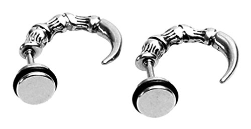 Bones Bold Type - Dragon Claw Hoop Wrap Earring Skeletal Finger Dinosaur Bone Mens Screw Back Earrings