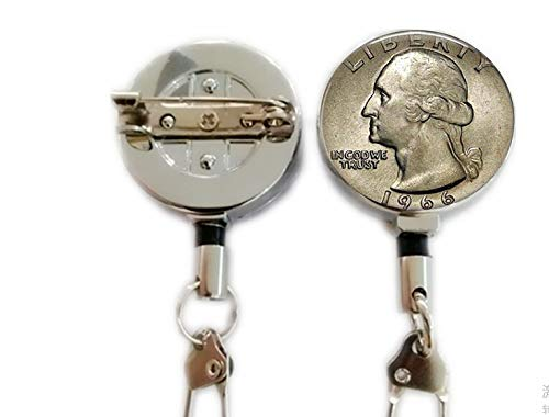 US Quarter Image Coin Jewelry w Your Year - Custom Birthday Gift - US Quarter Dollar - Coin Keychain - Coin Jewelry - George Washington,Retractable Badge Holder Carabiner Reel Clip On ID Card Holders