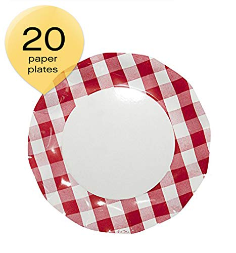 Sophistiplate 41Vtc2 Petalo Paper Dinner Plates, Red Gingham (Pack of ()