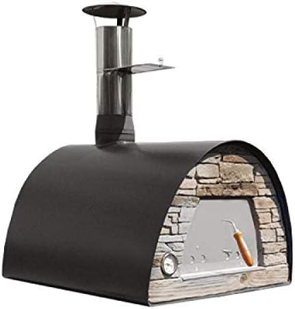 Horno de pizza de leña portátil y portátil negro
