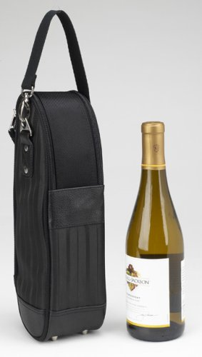 Picnic at Ascot Stylish One Bottle Wine Tote Bag - Black