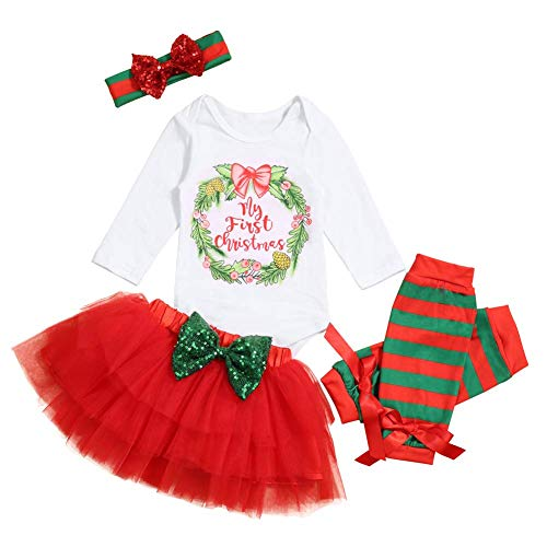 Baby Girl First Christmas Tutu Dress Outfit My 1st Christmas Romper + Leg Warmers + Headband 0-3 - Clothes Christmas First