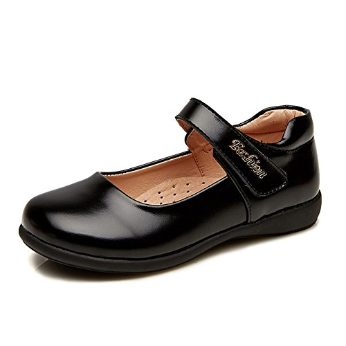 - Chiximaxu Maxu Leather Mary Jane Flat Girl Casual Shoes Black,Big Kid Size 4
