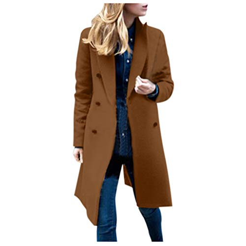 TRENDINAO Double Breasted Trench Coat Women Winter Notch Lapels Outwear Elegant Woolen Pea Coats Brown