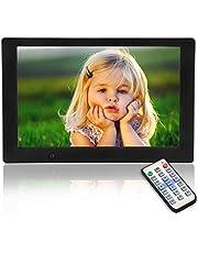 Digitale fotolijst, 10,1 inch USB IPS-display, 16:9 scherm, HD elektronische fotolijst voor smart home, afstandsbediening en lichaamsinductie, ondersteunt muziek/video/foto en achtergrondmuziek