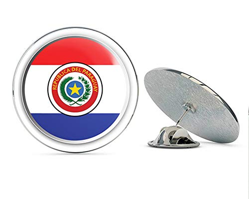 Paraguay Flag Emblem Round Metal 0.75