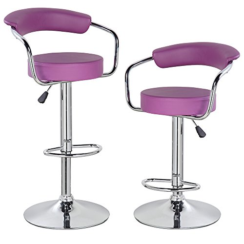 eurosports Home Kitchen Bar Stools PU Leather Swivel Adjustable Chair With Padded Back And Chrome Footrest (2-pack, purple)