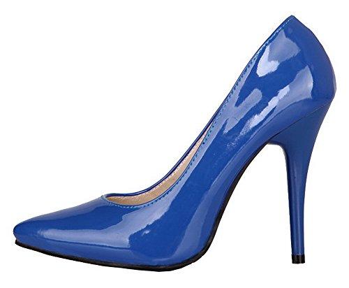 Amoonyfashion Damesschoenen Met Puntige Neus En Hoge Hakken Laklederen Stevige Pumps-schoenen Blauw