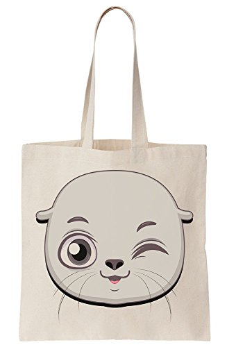 Face Tote Bag Seal Cute Blink Canvas Smiling qfHAXgt