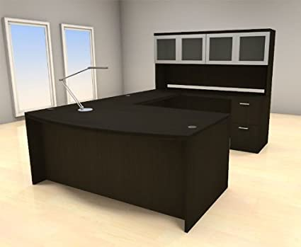 Delicieux 5pc U Shape Modern Executive Office Desk Set, #CH AMB U68