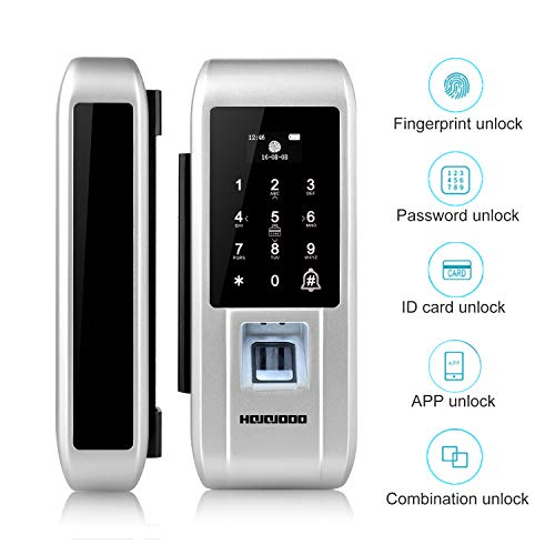 S600 Smart Glass Door Lock Enabled Fingerprint and Touchscreen Smart Lock 5-in-1 Keyless Entry Secure Finger ID Anti-peep Code Drill-Free Digital Lock Works with iOS & Android