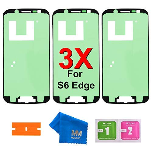 MMOBIEL 3 x Pre-Cut Adhesive Glue Tape Sticker Compatible with Samsung Galaxy S6 Edge G925 Front Housing LCD Bezel Frame ()