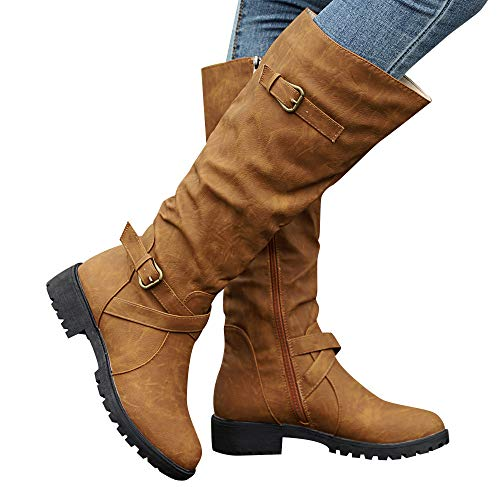Gyoume Over Knee Boots Women Calf Biker Boots Shoes Buckle Boots Flat Wedge Boots Shoes Zip Punk Military Combat Boots Brown