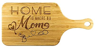 Cutting Boards For Kitchen Bamboo - Home Is Where My Mom Is Michigan State MI And Kentucky State KY - Funny Long Distance Relationship Mom Gifts From Daughter Mother Day