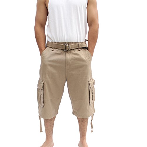 La Gate Mens Big and Tall Belted up to size 50 Cargo Short (40, - Belted Jeans Wide