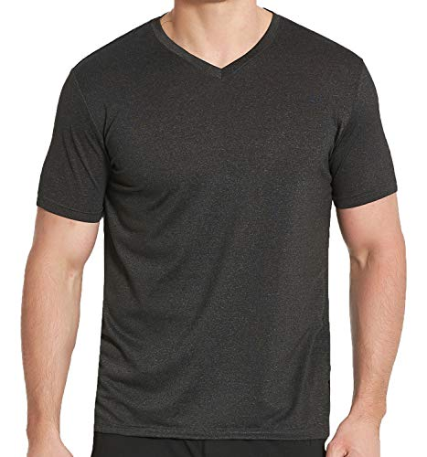 COVISS Men's Dry Fit Athletic T-Shirts, Short Sleeve V Neck Workout Tees, Black M ()