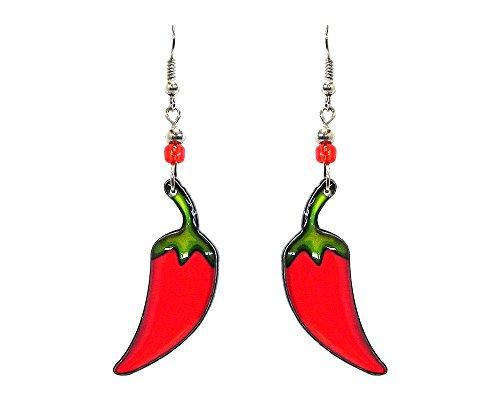 Chile Pepper Southwest Dangle Earrings (Red)