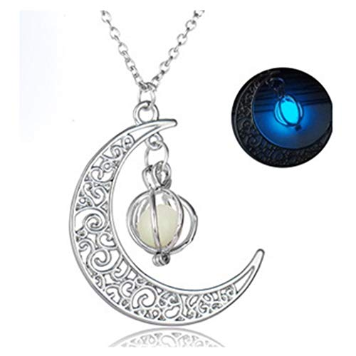 (Best Gift Onefa Glow in The Dark Luminous Necklace Moon & Pumpkin Pendant Silver Plated Jewelry (Blue))