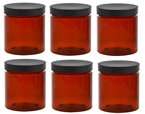 8 oz amber plastic jars - 9