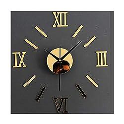 Alrens(TM)Gold Roman Numerals Acrylic Creative DIY Mirror Wall Clock 3D Wall Sticker Home Decoration Self Adhesive Mural Decal Living Room Bedroom Digital Clock Decor Art