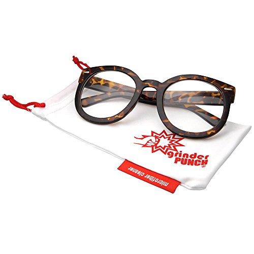 grinderPUNCH Women's Clear Lens Designer Inspired Mod Fashion Oversized Round Circle Sunglasses Tortoise