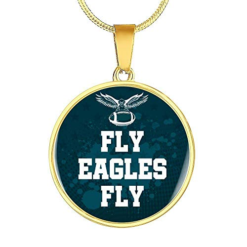 Express Your Love Gifts Fly Eagles Fly Handmade Stainless Steel-Silver Tone or 18k Gold Finish-Pendant Necklace Adjustable 18