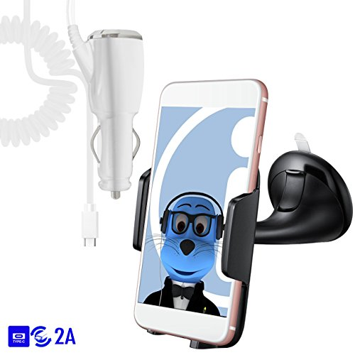 Price comparison product image White Strong Windscreen Case Compatible Clip On Suction Mount In Car Holder with 2000 mAh [2A] Type C USB C In Car Charger For Xiaomi Mi A1 (5X) 2017