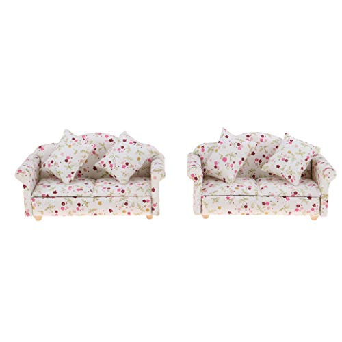 NATFUR 1/12 Dollhouse Miniature Double Sofa Cushions Room Garden Furniture ()