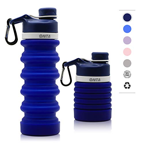 ONTA Collapsible Water Bottle- BPA Free Silicone Foldable Water Bottle for Travel, FDA Approved Food-Grade Silicone Portable Leak-Proof Travel Water Bottle, 20oz (Dark Blue)]()