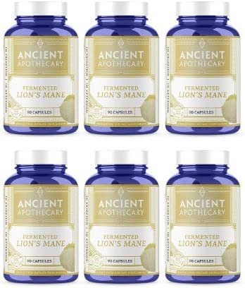 Ancient Apothecary Fermented Lion s Mane Mushroom Supplement, 90 Capsules Infused with Organic Essential Oils, Ashwagandha Extract and Digestive Bitters Pack of 6
