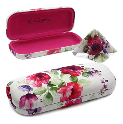 Hard eyeglass case | small sunglasses case | hard shell protective by MyEyeglassCase (AS126 Cranberry Rose)