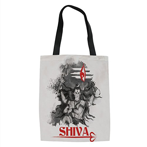 ous Figure of Ethnic Religion Holding Trident Red Eye on Stripes Artistic,Grey Red White Printed Women Shoulder Linen Tote Shopping Bag ()