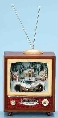 christmas decorations retro tv with christmas village and train lighted musical animated