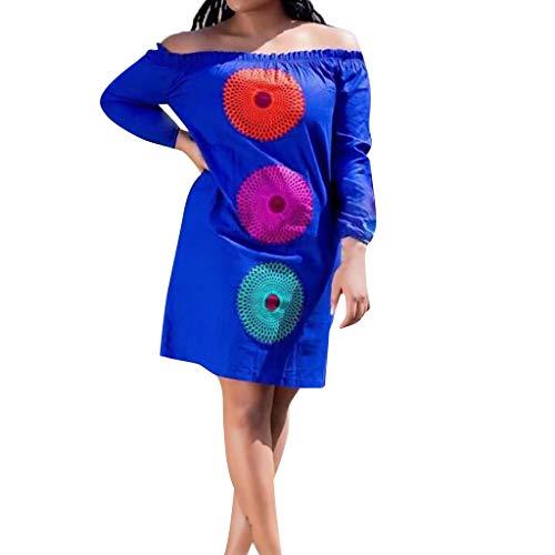 - BB67 Women Beach Dress, Off The Shoulder Half Sleeve Print Summer Simple Dress Blue