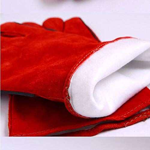 HNBY Glove Welder Welding Work Gloves Welding Machine Safety Gloves Wear-Resistant Long High Temperature Insulation Anti-scalding 8 Pairs (Color : Red) by HNBY (Image #5)