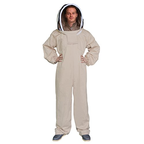 Aspectek New Professional Medium Cotton Full Body Beekeeping Bee Keeping Suit, with Veil Hood (XXL)