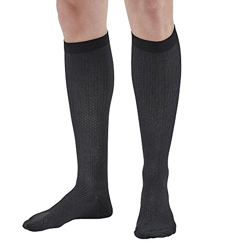 Ames Walker AW Style 117 Men's X-Static Silver 20-30mmHg Firm Compression Knee High Socks Black XXL - Silver Compression Socks -X-STATIC antimicrobial technology - Silver aids in temperature control by Ames Walker