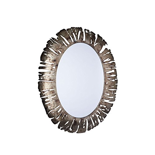 Household Essentials Decorative Oval Metal Wall Mirror, Bronze