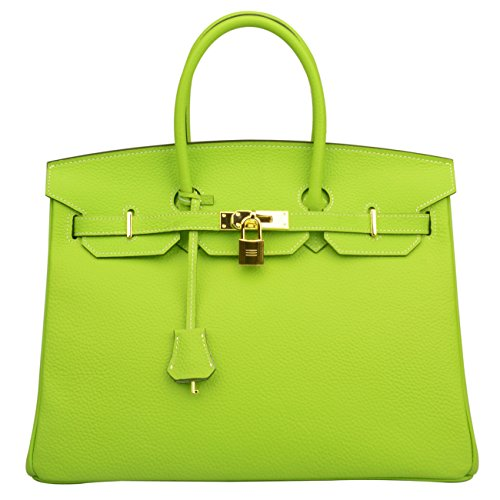 Ainifeel Womens Padlock Handbags With Golden Hardware  35 Cm  Apple Green With White Stitching