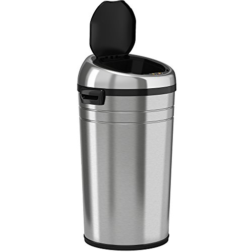 iTouchless Commercial Size Automatic Touchless Sensor Trash Can - Stainless Steel – 23 Gallon / 87 Liter – Round (Plastic Hands Free Trash Can)