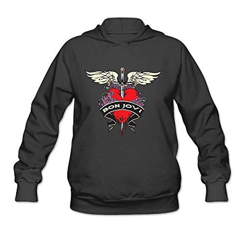 AK79 Women's Hoodie Bon Heart Logo Jovi Size S Black (Miami Black Ink Heart)
