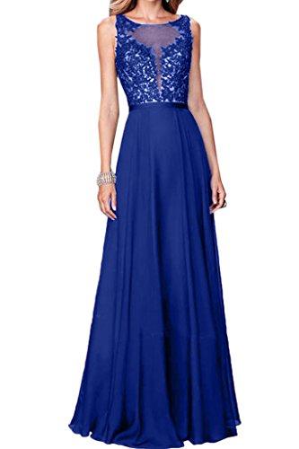 Ivydressing Linie Partykleid Elegant A Spitze Abendkleid Damen Royalblau Rundkragen Festkleid amp;Chiffon Promkleid rtwrqC1