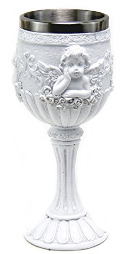(Bellaa 26911 Cherub Goblets White Angles Cupid Chalice Cups)