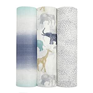 aden + anais Silk Soft Swaddle Blanket, Boutique Muslin Blankets for Girls & Boys, Baby Receiving Swaddles, Ideal Newborn & Infant Swaddling Set, Perfect Shower Gifts, 3 Pack, Expedition