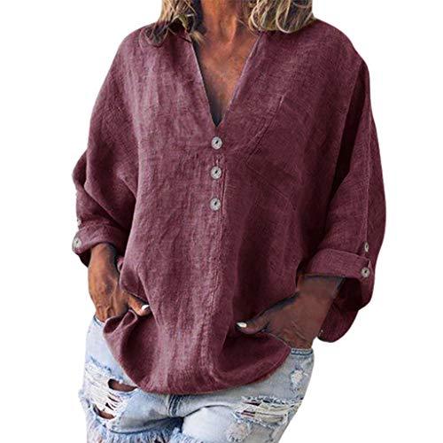 Plus Size Retro Button Blouse, QIQIU Summer Womens Elegant Linen V-Neck Fashion Loose Casual Short Sleeve Shirt T-Shirt Wine